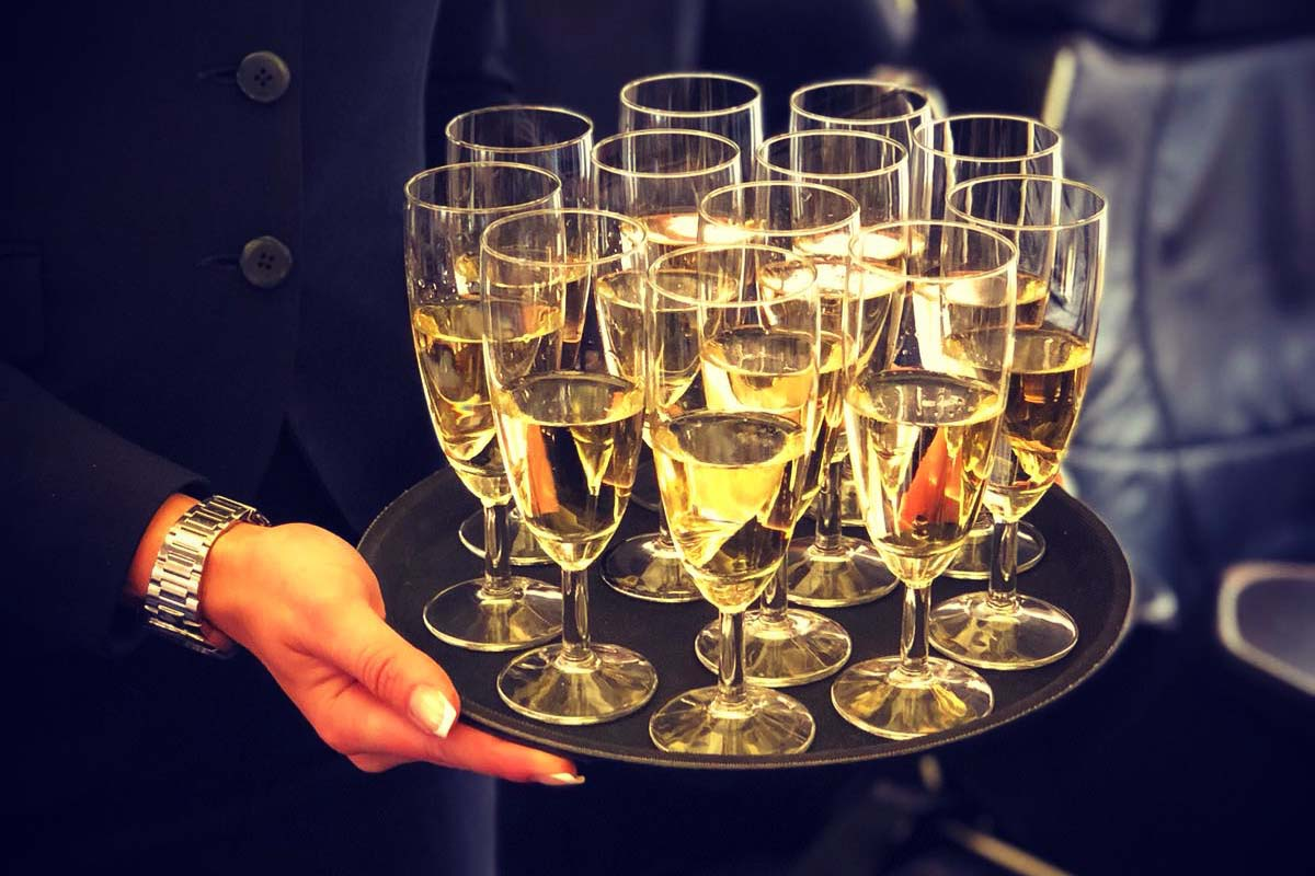 Champagne Service on board group charter aircraft