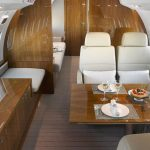 Global 6000 Private Jet Interior Dining