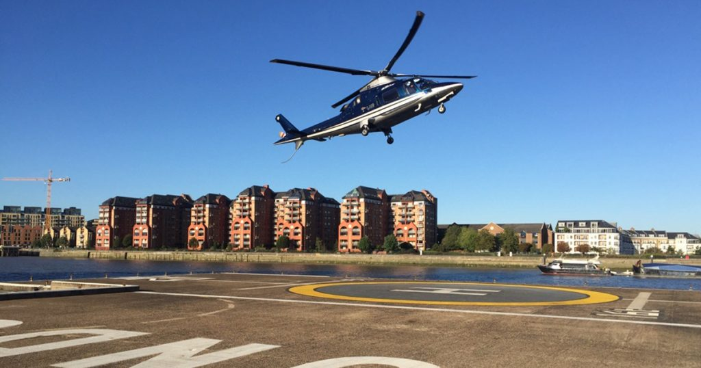 Helicopter Landing at London Heliport